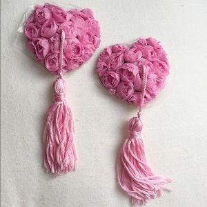 Floral Girly Heart Nipple Tassels